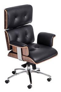 Кресло офисное VIP, черная кожа/ореховый шпон/хром