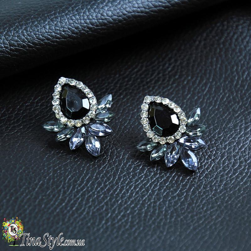 Серьги Винтаж черные кристаллы прозрачные серые камни сережки черный цвет висячие вечернее