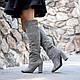 Женские серые высокие замшевые сапоги на каблуке.Пошив на любую ногу. Цвет кожи/замши на выбор., фото 3