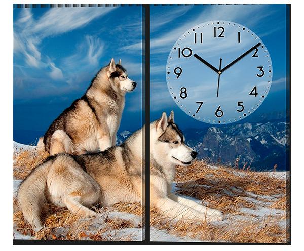 Модульная картина с часами Две лайки 82*70 см