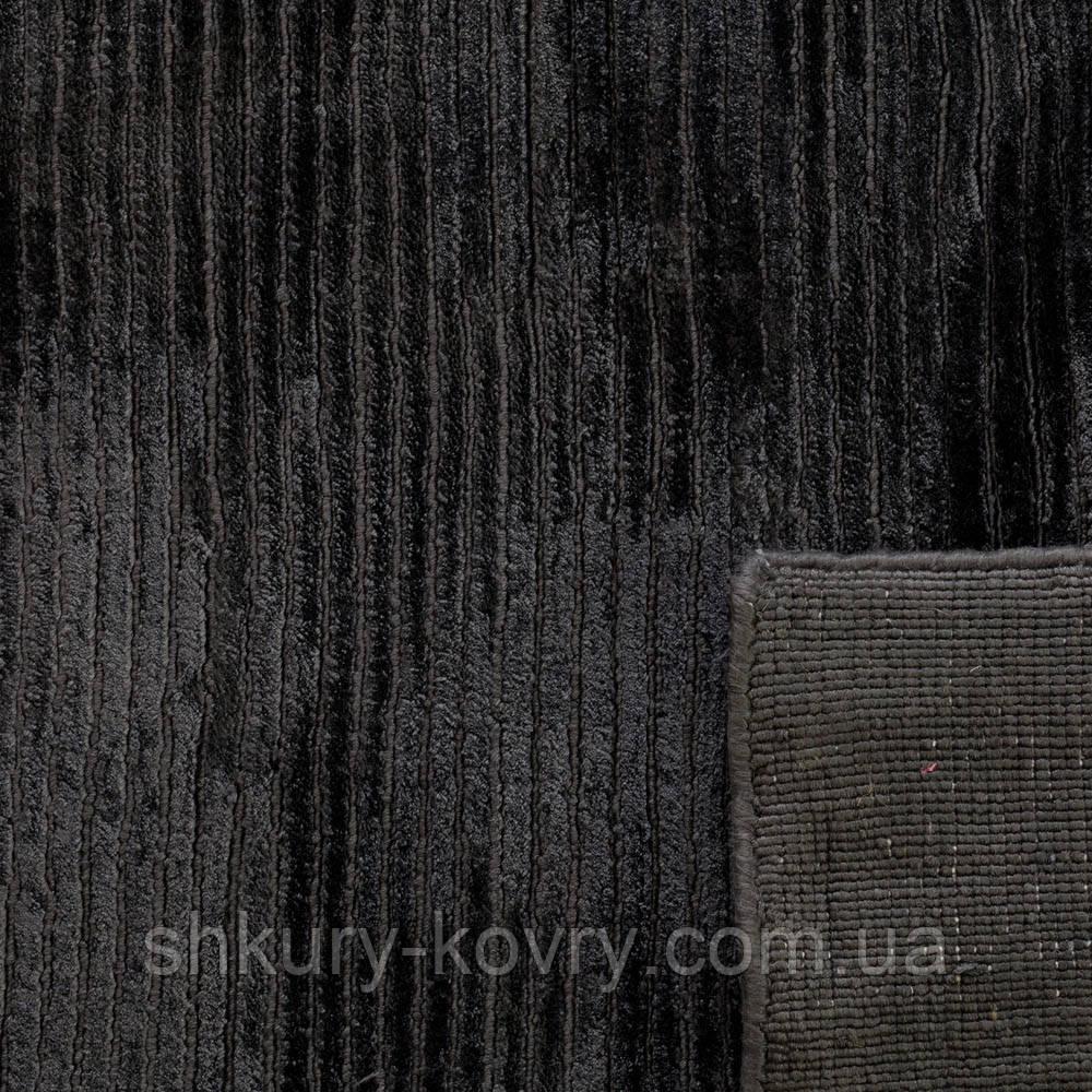 Шикарный богатый толстый черный ковер из бананового шелка