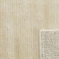Кремовый ковер из шелка однотонный с текстурой в полоску и кантом, фото 1
