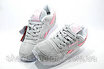 Замшевые женские кроссовки в стиле Reebok Classic Leather, Beige\Pink, фото 3