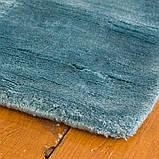 Толстые мягкие ковры из натуральных материалов голубого цвета, фото 4