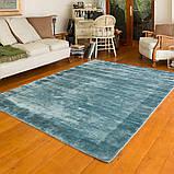 Толстые мягкие ковры из натуральных материалов голубого цвета, фото 2