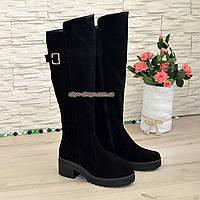 Сапоги черные женские зимние замшевые на устойчивом каблуке