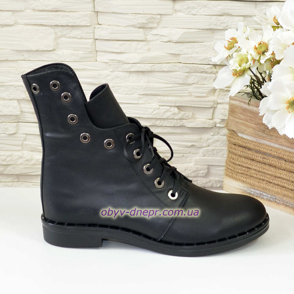 Стильные женские демисезонные ботинки на низком ходу, натуральная кожа