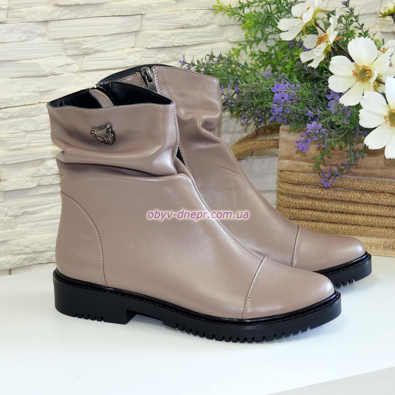 Ботинки женские кожаные зимние, цвет визон