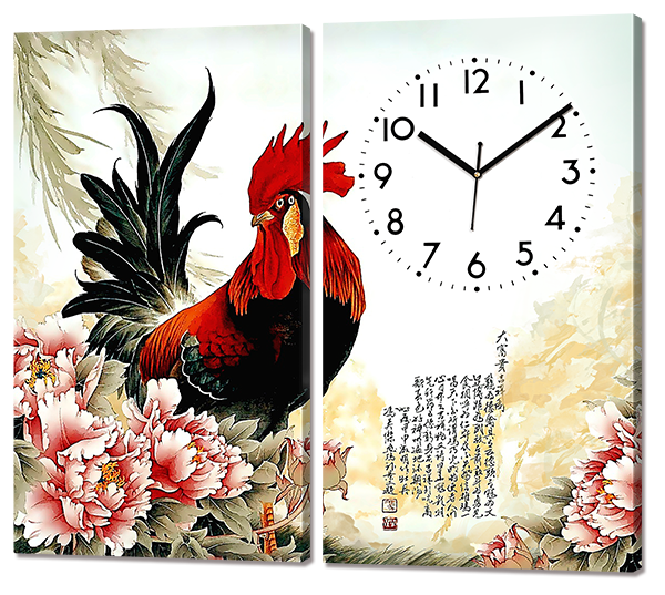 "Модульная картина с часами ""Петух. Живопись"" 82 * 70 см"