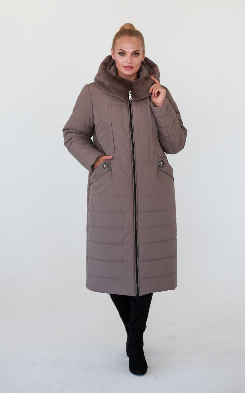 Куртка зимняя батал Хелен темный беж (52-62)