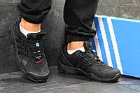 Кроссовки мужские Adidas AX2 кожаные спортивные лучшие непромокающие (черные), ТОП-реплика, фото 1
