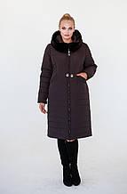 Женская зимняя куртка Хелен темный шоколад (52-62)