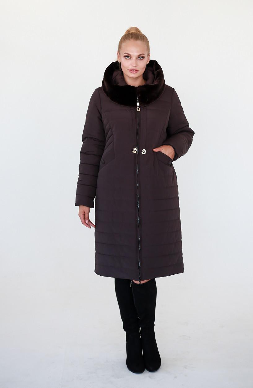 4f5adf095ad Женская зимняя куртка Хелен темный шоколад (52-62) - Fashop Женская одежда  от