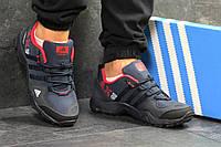 Кроссовки мужские Adidas AX2 кожаные популярные удобные под джинсы адидас (синие), ТОП-реплика, фото 1