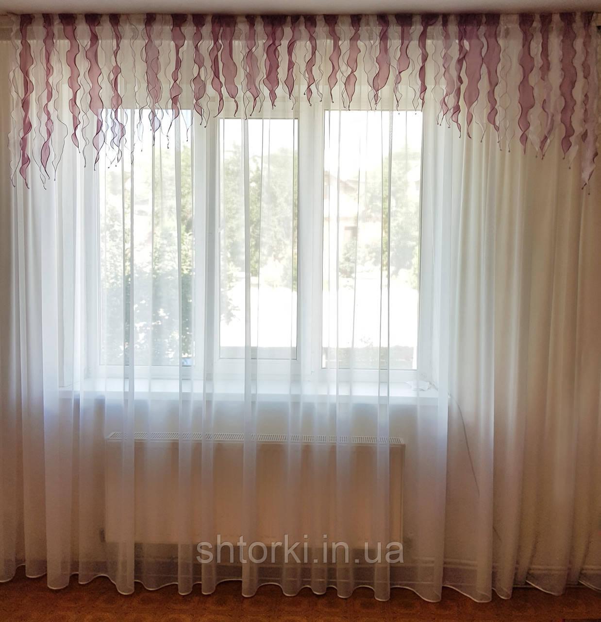 Ламбрекен  Водопад розово-сиреневый с белым