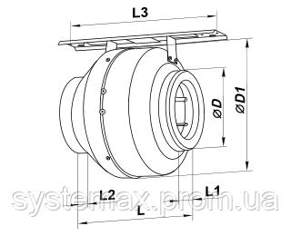 Габаритные размеры Вентс ВКМ Е, Vents VKM E (канальный круглый центробежный вентилятор)