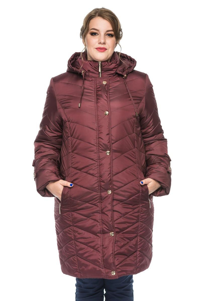 Зимняя женская куртка Инесса бордо(50-60)