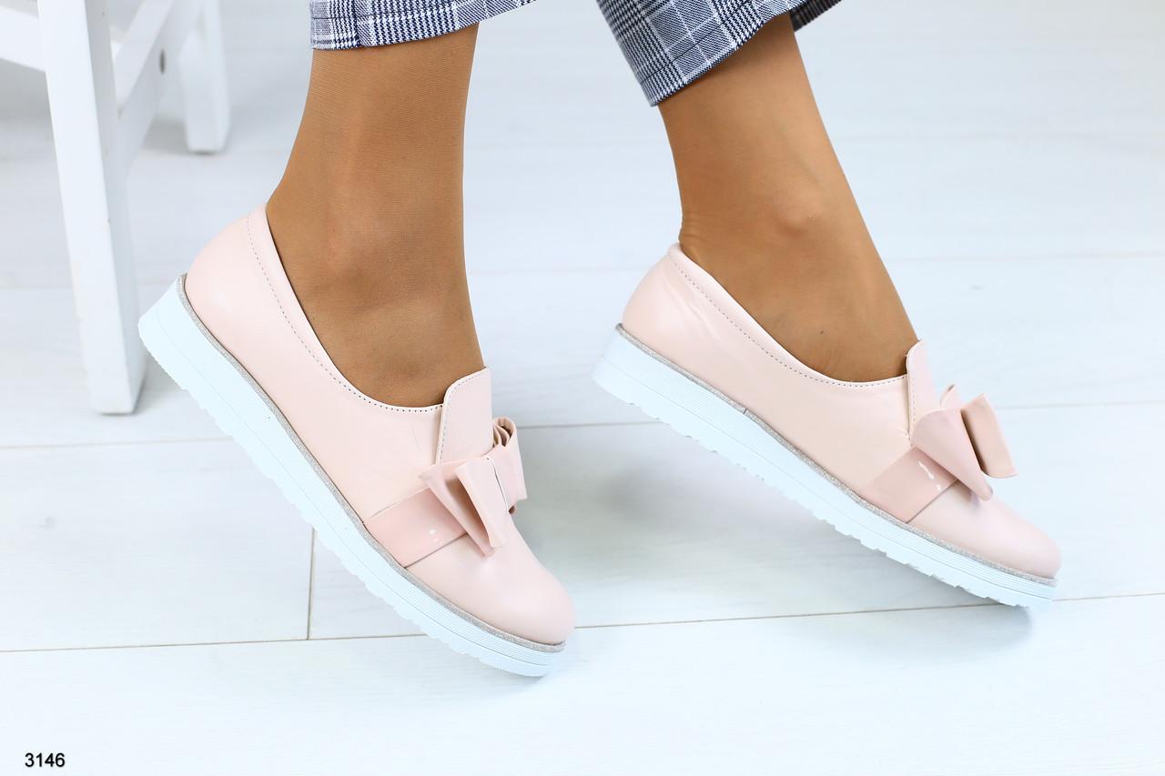 Женские туфли с бантиком на плоском ходу