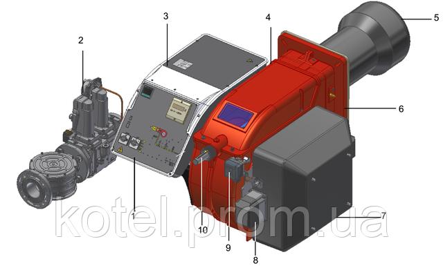 Схема газовых прогрессивных горелок с менеджером горения Unigas Novanta R93A