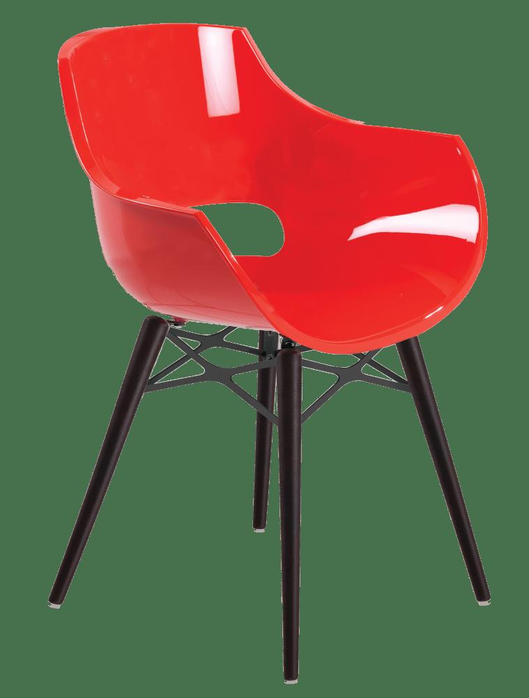 Крісло Papatya Opal-Wox червоний, рама лакований бук венге
