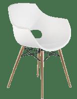 Крісло Papatya Opal-Wox матове біле, рама натуральний бук, фото 1