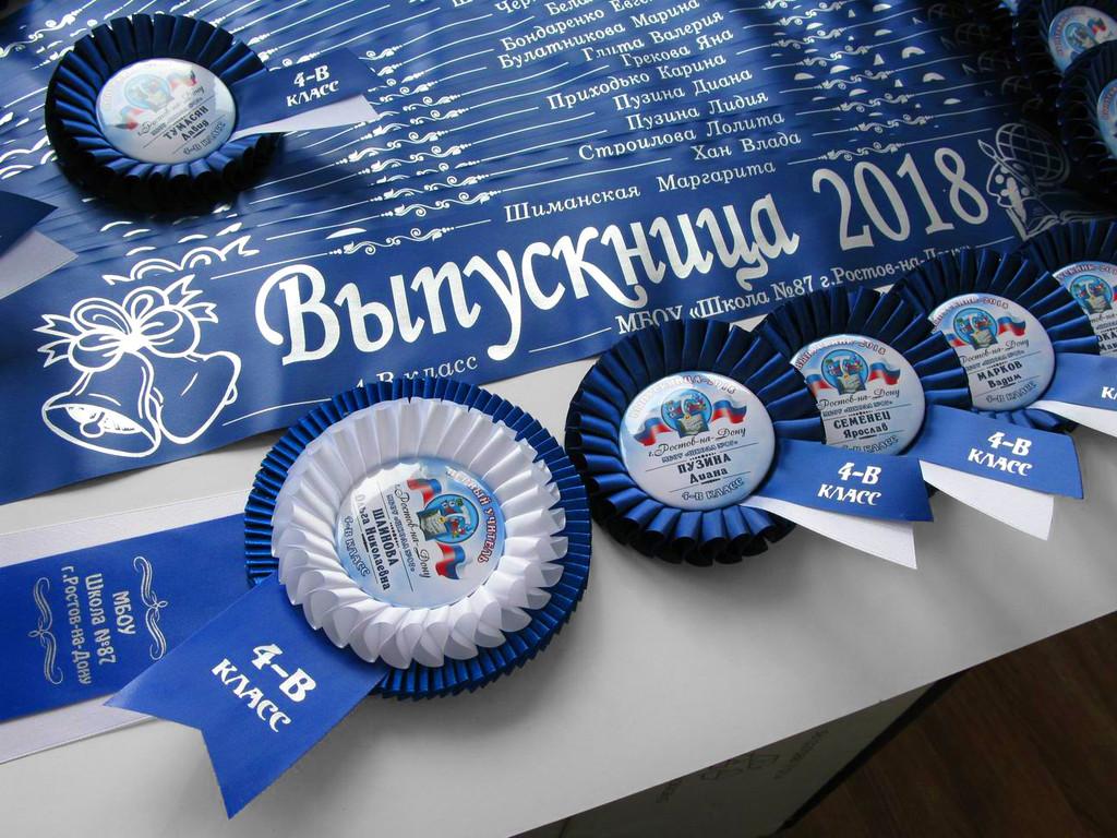 Синяя лента «Выпускник начальной школы» (надпись - основной макет №1), медаль «Выпускник 2019» — «Катюша» с надписью и медаль первому учителю «Золушка» с надписью.