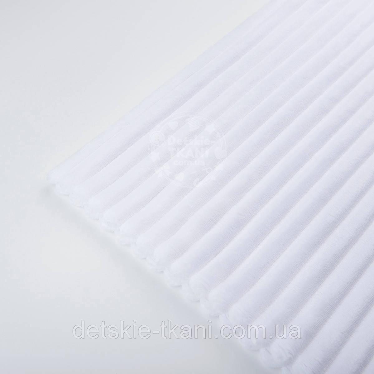 Лоскут плюша в полоску Stripes, цвет белый, с оттенком айвори 100*45 см