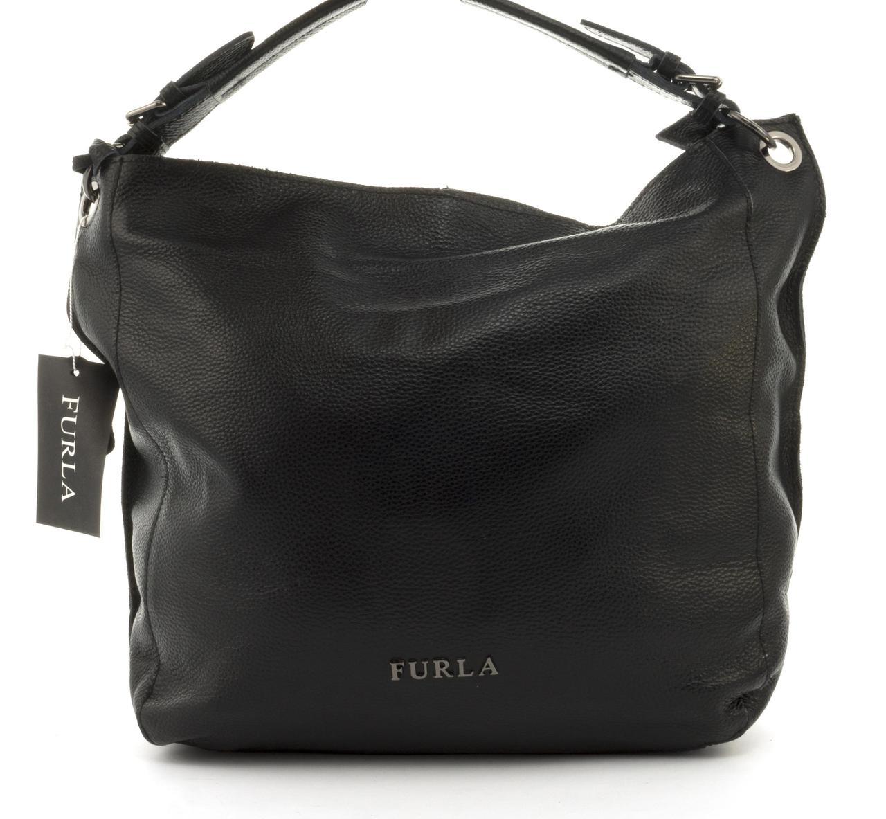 9ca631841e54 Стильная кожаная мешковидная женская сумка FURLA art. 9005 Турция черная