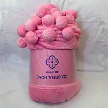 Плед Colorful Home з помпонами рожевий 200х220см.