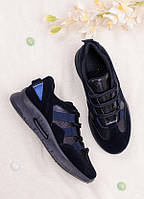 Синие кроссовки женские с имитацией шнуровки 25773, фото 1