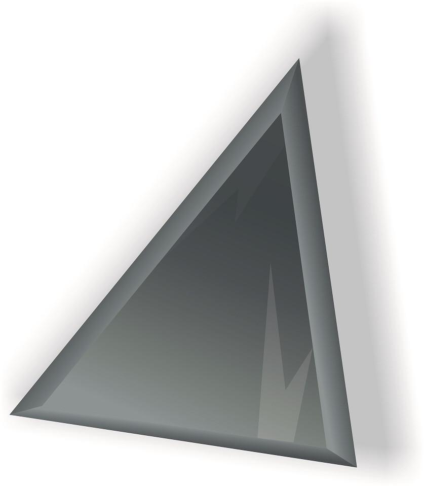 Зеркальная плитка НСК треугольник 350х350 мм фацет 10 мм графит, фото 1