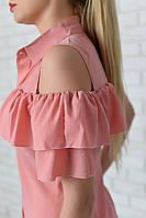 Блуза арт. 904 с двойным рюшем пудра, фото 1