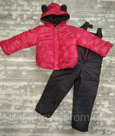 Теплый костюм демисезонный детский Сердечки (9 мес-2,5 лет)