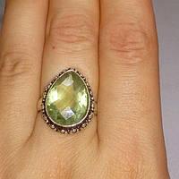 Кольцо зеленый аметист 16 размер. Кольцо с аметистом в серебре. Индия, фото 1