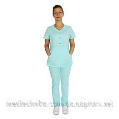 Медицинский костюм женский Бали мята синяя кнопка