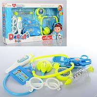 Доктор 502-112  стетоскоп, шприц, очки, термометр,лоток, зв,св, на бат (таб), в кор-ке,432-24-4,5см