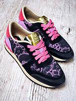Модные кроссовки кожа+гипюр 36,37,39 р, фото 1