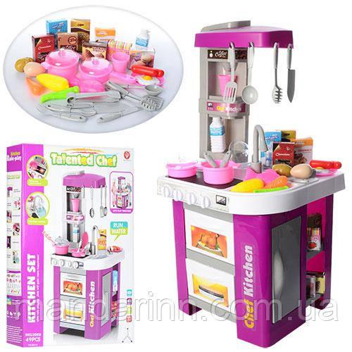 Детская кухня 922-49  со свет. и звук. эффектами с встроенным холодильником, с крана льется вода (выс. 72см)