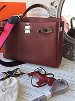 Женская сумка Гермес келли 32 см бордо 2 ремня, фото 1