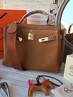 Женская сумка Гермес келли 32 см 2 ремня (реплика), фото 1