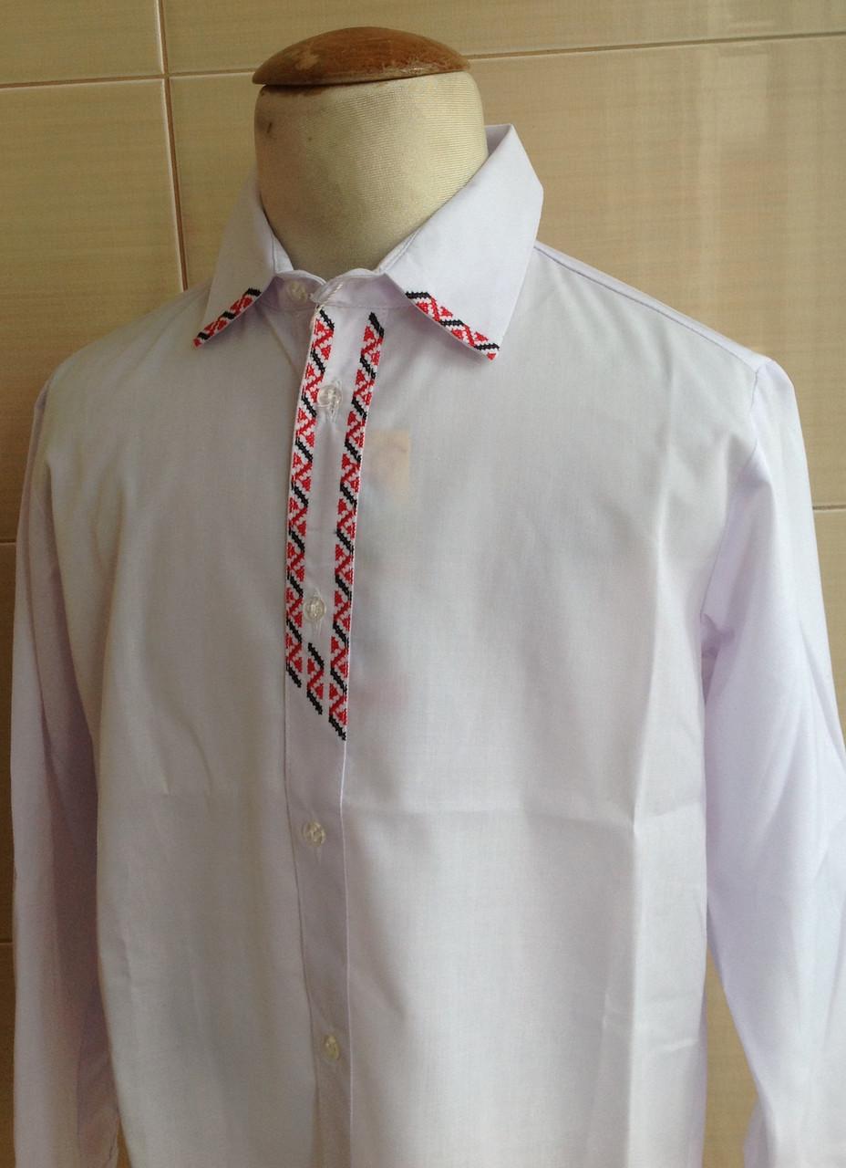 Рубашка белая для мальчика с длинным рукавом и вышитыми элементами Галстук
