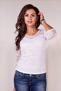 """Гипюровая женская блуза """"Gipur"""" с четвертным рукавом (3 цвета)"""