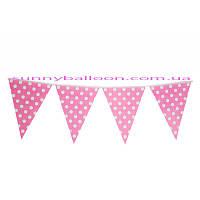 Бумажный декор флажки-банер розовые в горошек 250 см. Уп.10 шт.
