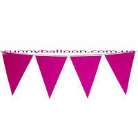 Флажки-банер для украшения праздника (малиновые) 250 см.