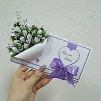 Бело - сиреневый конверт для денег, фото 1