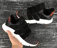 Мужские летние кроссовки чёрные Adidas  40-44р, высококачественный текстиль,  комплекте фирменная коробка