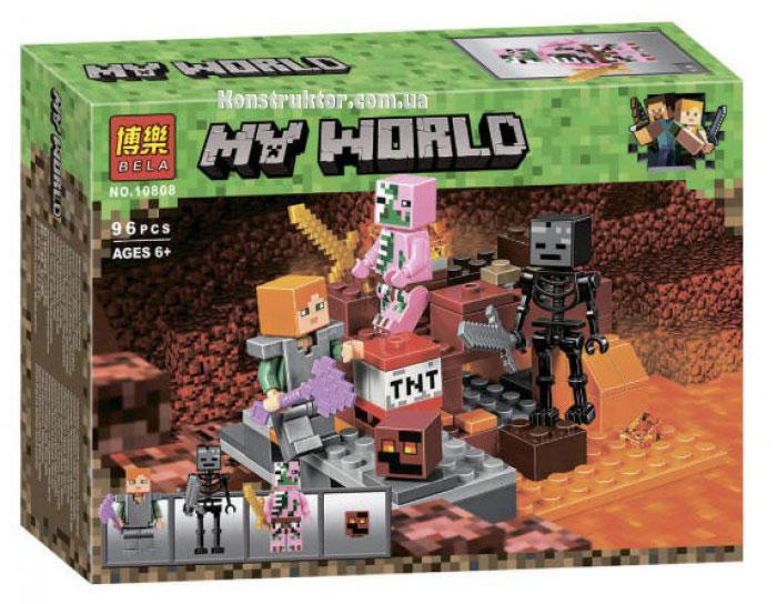 """Конструктор Майнкрафт """"Бой в Подземелье"""" Bela 10808 аналог Лего 21139, 96 деталей."""