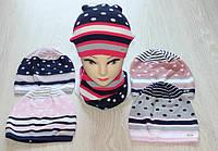 Вязаные  однослойные  шапки с хомутом для девочек