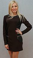 Платье-туника с кожей коричневый, фото 1