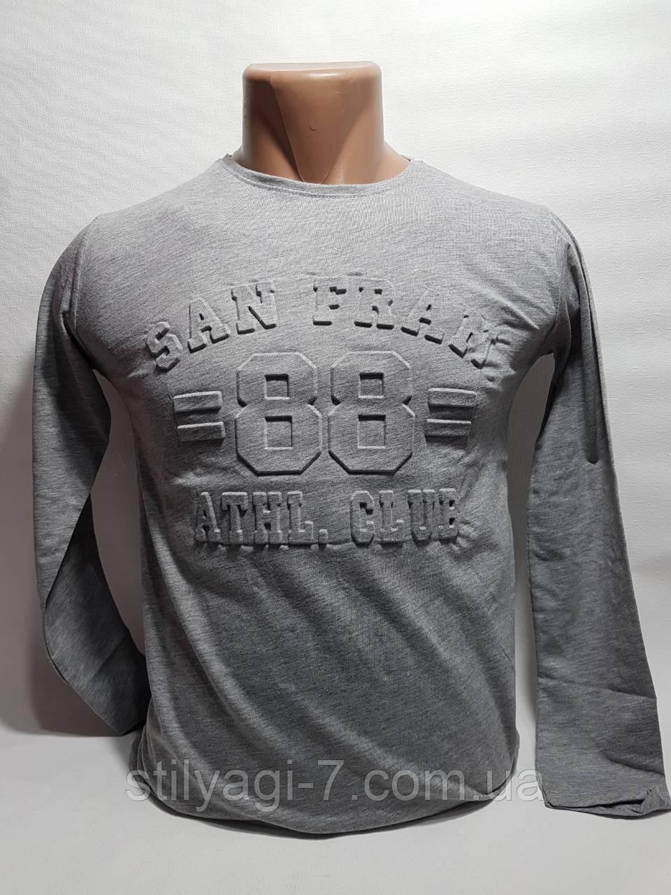 Батник для хлопчика на 11-15 років сірого кольору з написом оптом